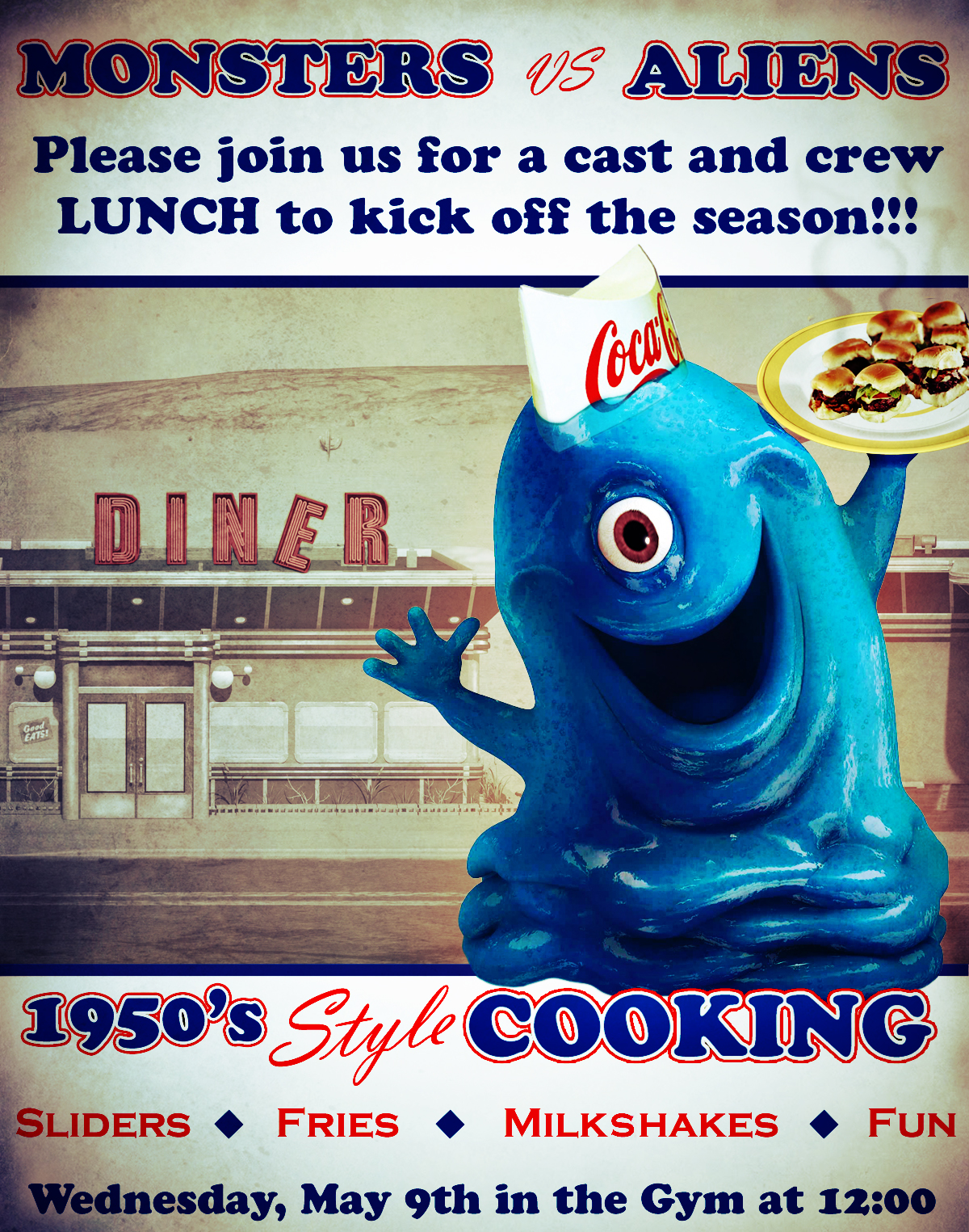 Monsters Vs. Aliens Cast and Crew Lunch Poster Design